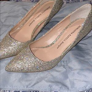 NEW ADRIANNA PAPELL GOLD SEQUIN GLITTER PUMPS 7.5